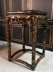 Beautiful Hand Painted Chinese Dide Table Pedestal Vintage