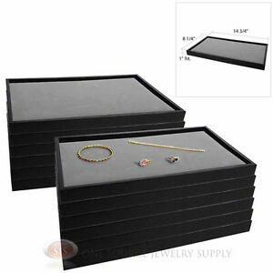 12 Black Plastic Stackable Trays W Gray Velvet Pad Display Jewelry Inserts