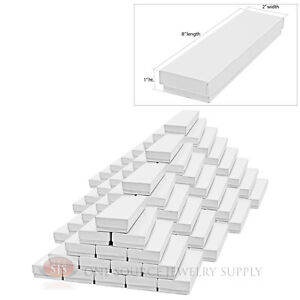 100 Gloss White Cotton Filled Gift Boxes 8 X 2 Jewelry Bracelet Box