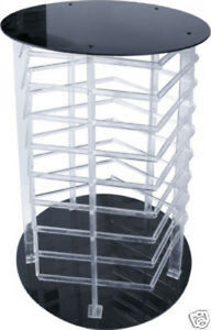 Earring Display Stand Revolving 5 Sided Clear Acrylic Rotating Holds 180 Cards
