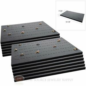 12 Gray Ring Display Pads Holds 72 Slot Rings Tray Or Case Jewelry Insert