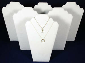 6 White Leather Pendant Necklace Easel Back Jewelry Counter top Display Stand
