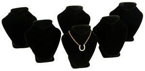 6 Black Velvet Necklace Jewelry Display Busts 2 5 8