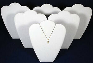6 White Velvet Pendant Necklace Easel Back Jewelry Counter top Display Stand