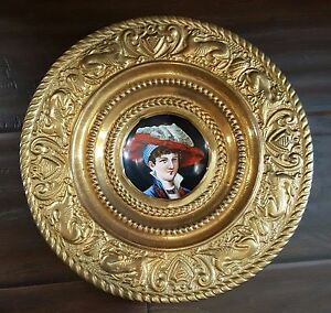 Antique Kpm German Portrait Painting Porcelain Plate Ormolu Brass Repousse Frame