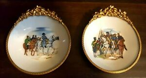 Pair Of Ormolu Limoges France Napoleon Portrait Porcelain Wall Plates Brass Trim