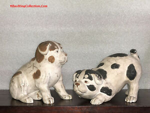 Antique Japanese Matching Pair Of Carved And Painted Wood Dogs Figurines