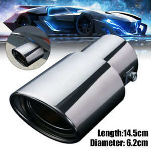 2 5 Inch Inlet Oval Rear Tail Exhaust Muffler Pipe Tip Chrome 62mm Universal