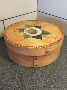 Vintage 12 Round Wood Cheese Box Hand Painted Floral Cork Bottom By Im Sook
