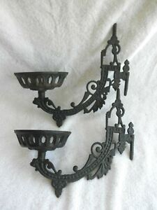 Vintage Vicorian Cast Iron Oil Lamp Candle Wall Sconces