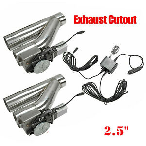 2pcs 2 5 Electric Exhaust Downpipe E Cut Out Valve One Controller Remote Kit
