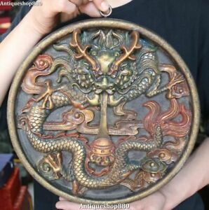 12 Old China Wood Painting Dynasty Dragon Loong Play Bead Hanging Screen Statue