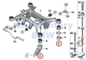 2 X Bmw Genuine Rear Axle Carrier Hex Bolt With Washer M14x1 5x148 E70 E70n E71