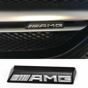 Amg Emblem Badge Front Grille Grill Plastic Silver Racing Logo For Mercedes Benz