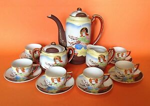 Dragon Ware Satsuma Tea Set 6 Cups Saucers Hand Painted Yellow Blue Japan