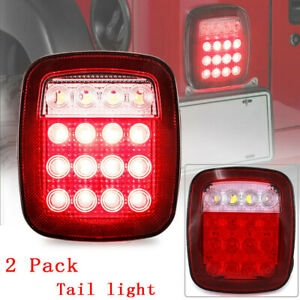 Led Tail Lights Rear Brake Lamps Stop Reverse For Jeep Wrangler Cj 76 06