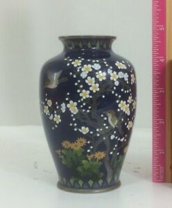 Signed Japanese Silver Wire Cloisonn Vase Pure Silver Mid Night Blue