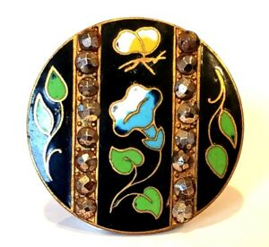 Antique Button Very Large Enamel With Butterfly Sparkling Cut Steels
