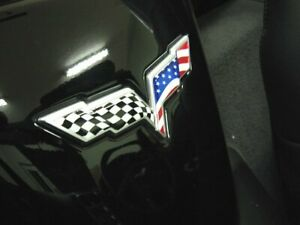 C6 Corvette American Flag Emblem Overlay Decal Fits Front Rear