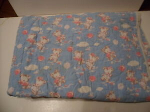 Blue Pink Vintage Baby Quilt Balloons Bears 44 X 34