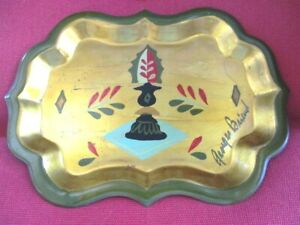 Vintage Hand Painted Signed Georges Briard Retro Modern Chess Bishop Tole Tray