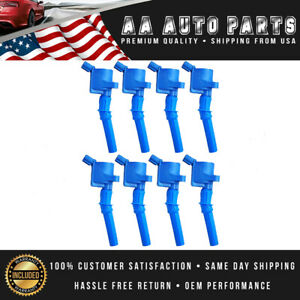 Pack Of 8 Dg508 Blue Ignition Coils For Ford F150 F550 F250 f550 Super Duty