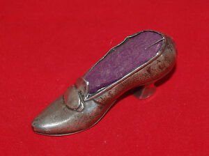 Antique Victorian Sterling Silver Metal Ladies Boot Shoe Figural Pin Cushion