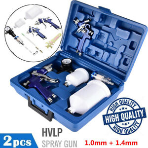 2pc Hvlp Air Spray Gun Kit 1 4 1mm Nozzle Set Paint Touch Up Gravity Feed Paint