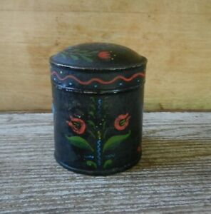 Antique Spice Tin Canister Folk Art Hand Painted Tin