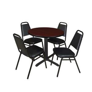 Cain 30in Round Breakroom Table Mahogany 4 Restaurant Stack Chairs Black