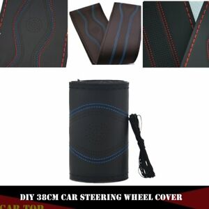 Diy 38cm Car Truck Leather Steering Wheel Cover With Needles Thread Black Blue