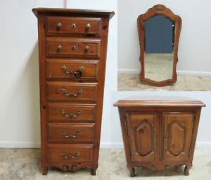 Ethan Allen Country French Chateau Lingerie Chest Tall Dresser Mirror Table 3 Pc