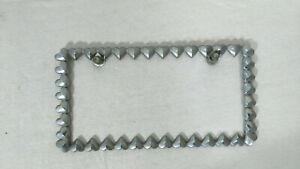 Vintage Rat Rod Style Heart Chain License Plate Tag Holder Frame