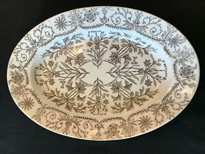 Antique T R Boote Lahore Aesthetic Ironstone Turkey Platter Brown White 1880