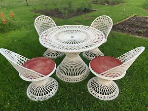 5pc Vintage Spun Russell Woodard Patio Set Table Chairs Cushions Mid Century