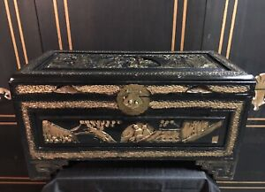 Vintage Hand Carved Chinese Wood Chest Chinese Sceneries Black Lacquer Gilted
