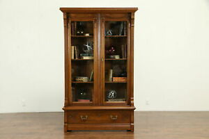Victorian Antique Walnut Library Bookcase Wavy Glass Carved Tassels 31608