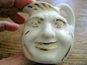 Vintage Antique Man In The Moon Face Pitcher Mini Lusterware Pottery Jug W Gold
