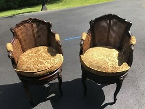 Lovely Pair Vintage French Country Wood Cane Tufted Accent Barrel Arm Chairs