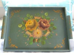 Vintage French Blue Hand Painted Pink Yellow Flowers Wood Dresser Tole Tray