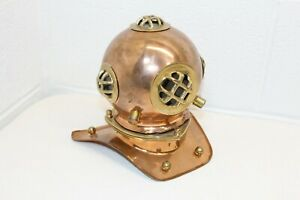 Vintage Shiny Copper Brass Diving Helmet Replica Shelf Display 8 Tall Mini