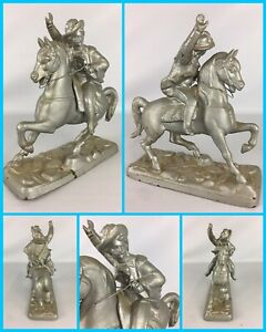 Vtg Mid Century Modern 3 Musketeer S Soldier On Horse Cast Metal Statue Figure