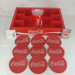 Coca~Cola Coke Lot.Plastic Tray.Playing Cards.125 Year Pin.Coasters. Drink Glass