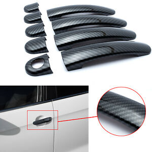 Carbon Fiber Trim Side Door Handle Covers For Vw Tiguan Jetta 2009 16 Polo 10 14