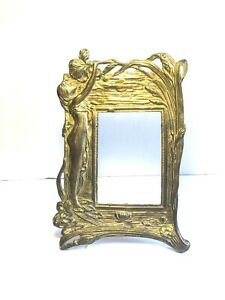 Vintage Art Nouveau Style Solid Brass Picture Frame Lady Reaching Up To A Flower