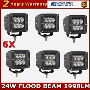 6x 3 Inch 24w Square Led Work Light Flood Cube Pods Offroad Boat Truck Driving