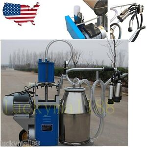 Usa Electric Milking Machine For Farm Cows Goat Bucket 2plug 25l Stainless Steel
