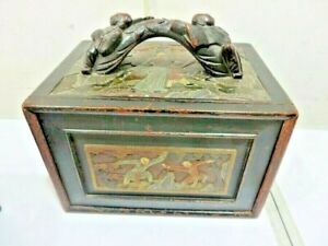 Mahjong Genuine Chinese Antique Beautiful Carved Chest In Relief