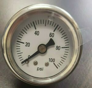 Mechanical Fuel Pressure Gauge 1 5 Dia Liquid Filled 0 100 Psi White W Chrome