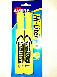 Avery Yellow Fluorescent Hi liter 2pk sold In Lot Of 3 New In Box